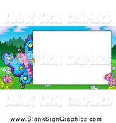 Vector Cartoon Illustration of a Cute Butterfly Waving Around a Blank Sign in a Spring Landscape by Visekart