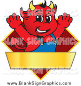 Vector Cartoon Illustration of a Devil Cheering over a Red Diamond Sign by Toons4Biz