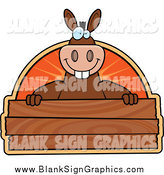 Vector Cartoon Illustration of a Donkey Smiling over a Wooden Plaque by Cory Thoman