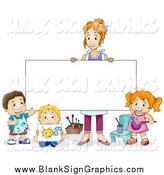 Vector Cartoon Illustration of a Female Art Teacher Holding up a Blank Sign by Her Students by BNP Design Studio