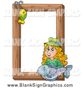 Vector Cartoon Illustration of a Fishing Hook and Girl Holding a Fish over a Wooden Frame by Visekart