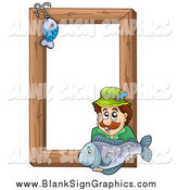 September 17th, 2014: Vector Cartoon Illustration of a Fishing Hook and White Man Holding a Fish over a Wooden Frame by Visekart