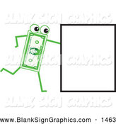 Vector Cartoon Illustration of a Friendly Banknote Character Pushing a Sign by Prawny