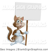Vector Cartoon Illustration of a Friendly Cat Holding up a Blank Sign by AtStockIllustration