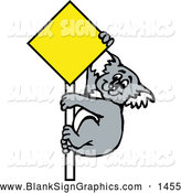 Vector Cartoon Illustration of a Friendly Koala Climbing a Blank Yellow Sign by Dennis Holmes Designs