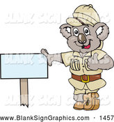 Vector Cartoon Illustration of a Friendly Safari Koala Leaning Against a Blank Sign by Dennis Holmes Designs