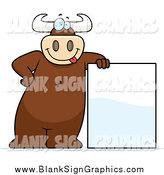 Vector Cartoon Illustration of a Goofy Big Bull Leaning on a Blank Sign by Cory Thoman