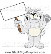 Vector Cartoon Illustration of a Gray Bulldog Waving and Holding a Blank Sign by Toons4Biz