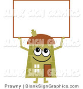Vector Cartoon Illustration of a Green House Holding a Blank Sign by Prawny