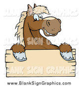 Vector Cartoon Illustration of a Happy Brown Horse over a Blank Wood Sign by Hit Toon