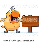 Vector Cartoon Illustration of a Happy Chick Beside a Blank Wooden Sign by Cory Thoman