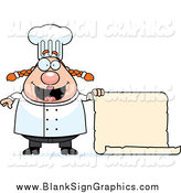 Vector Cartoon Illustration of a Happy Female Chef Holding a Blank Scroll by Cory Thoman