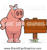 Vector Cartoon Illustration of a Happy Pig Standing Beside a Blank Wood Sign by Cory Thoman