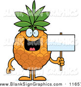 Vector Cartoon Illustration of a Happy Pineapple Holding a Blank Sign by Cory Thoman
