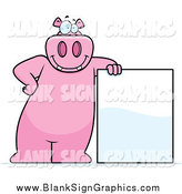 December 19th, 2014: Vector Cartoon Illustration of a Happy Pink Hippo Leaning Against a Blank Sign by Cory Thoman