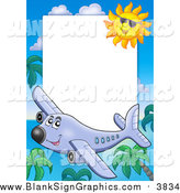 Vector Cartoon Illustration of a Happy Plane, Palm Tree and Sun Border Around White Space by Visekart
