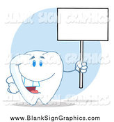 Vector Cartoon Illustration of a Happy Tooth Character Holding up a Blank Sign on a Pole by Hit Toon