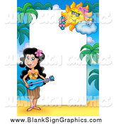 Vector Cartoon Illustration of a Hawaiian Girl Playing Music Border Around White Space by Visekart