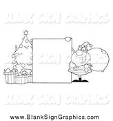 Vector Cartoon Illustration of a Lineart Blank Sign, Christmas Tree and Santa by Hit Toon