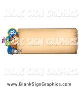 Vector Cartoon Illustration of a Male Pirate and Parrot Looking Around a Blank Wood Sign by Visekart