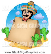 Vector Cartoon Illustration of a Mexican Man Holding a Blank Sandwich Board by Visekart