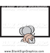 Vector Cartoon Illustration of a Micah Mouse Kneeling by a Blank Sign by Johnny Sajem