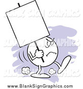Vector Cartoon Illustration of a Moodie Emoticon Character Carrying a Blank Sign with an Angry Expression by Johnny Sajem