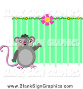 Vector Cartoon Illustration of a Mouse Presenting Green Copyspace by