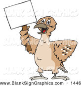 Vector Cartoon Illustration of a Odd Mallee Bird Holding a Blank Sign by Dennis Holmes Designs