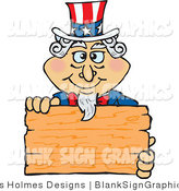 Vector Cartoon Illustration of a Patriotic Uncle Sam Holding a Blank Wooden Sign by Dennis Holmes Designs