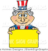 Vector Cartoon Illustration of a Patriotic Uncle Sam Holding a Yellow Blank Sign by Dennis Holmes Designs