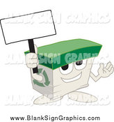 Vector Cartoon Illustration of a Recycled Paper Box Character Holding up a Blank Sign by Toons4Biz