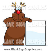 Vector Cartoon Illustration of a Red Nosed Reindeer Leaning Against a Blank Sign by Cory Thoman