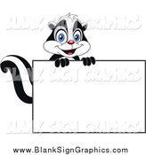 Vector Cartoon Illustration of a Skunk over a Blank Sign by Yayayoyo