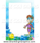 Vector Cartoon Illustration of a Snorkel Border with Text Space by Visekart