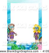 Vector Cartoon Illustration of a Snorkel Border with White Text Space by Visekart