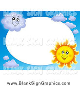 Vector Cartoon Illustration of a Sun and Cloud Frame Around White Oval Space by Visekart