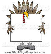 Vector Cartoon Illustration of a Turkey Bird Holding a Blank Thanksgiving Sign by Djart
