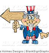 Vector Cartoon Illustration of a Uncle Sam Holding a Blank Arrow Sign by Dennis Holmes Designs