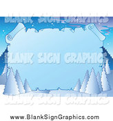 Vector Cartoon Illustration of a Winter Background with Flocked Trees and a Blank Icy Parchment Sign by Visekart