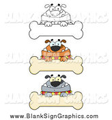 Vector Cartoon Illustration of Bulldogs and Blank Bone Signs by Hit Toon