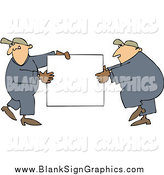 Vector Cartoon Illustration of Caucasian Worker Men Carrying a Blank Sign by Djart