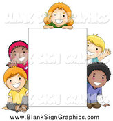 Vector Cartoon Illustration of Diverse School Children Around a Blank Sign by BNP Design Studio