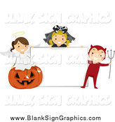 Vector Cartoon Illustration of Halloween Kids Around a Blank Sign by BNP Design Studio