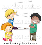 Vector Cartoon Illustration of Happy Diverse School Children Holding Stacked Blank Signs by BNP Design Studio