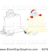 Vector Cartoon Illustration of Lineart and Colored Santas Holding Banners by Alex Bannykh