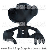 Vector Illustration of a 3d Black Lab Dog Character Pointing to and Standing Behind a Blank Sign by Julos