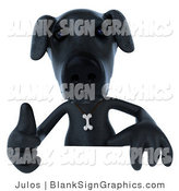 Vector Illustration of a 3d Black Lab Holding a Thumb up and Blank Sign by Julos