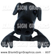 Vector Illustration of a 3d Black Labrador Dog Character Standing Behind a Blank Sign by Julos