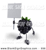 Vector Illustration of a 3d Blackberry Character Holding up a Blank Sign on a Post by Julos